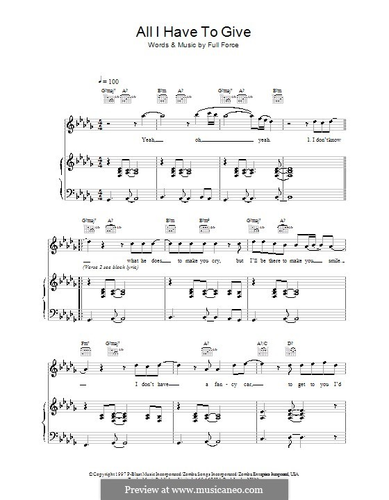 All I Have to Give (Backstreet Boys): Para vocais e piano (ou Guitarra) by Full Force