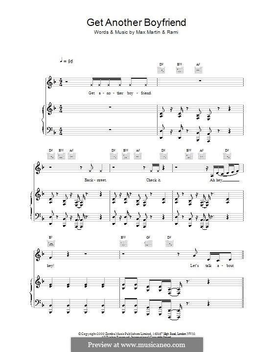 Get Another Boyfriend (Backstreet Boys): Para vocais e piano (ou Guitarra) by Martin Martin