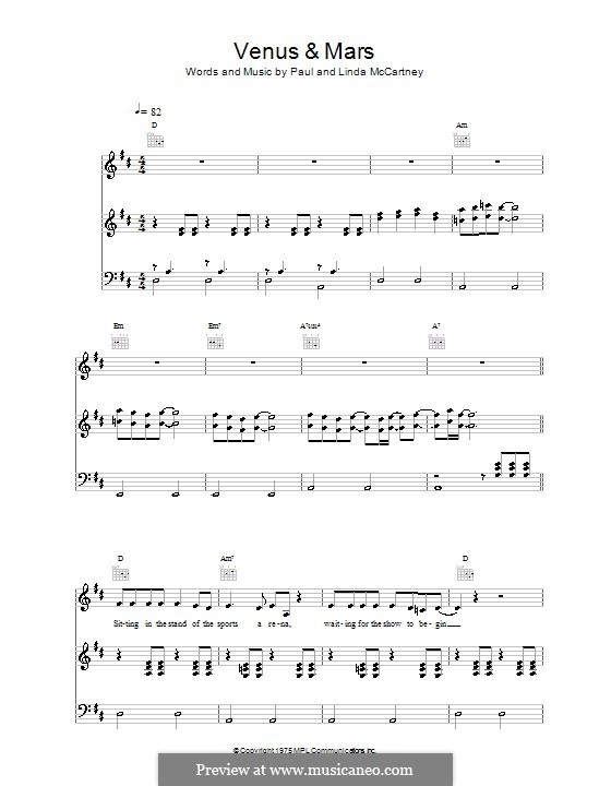 Venus and Mars (Wings): Para vocais e piano (ou Guitarra) by Linda McCartney, Paul McCartney