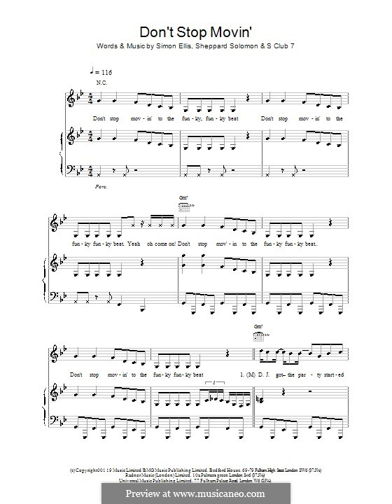 Don't Stop Movin': Para vocais e piano (ou Guitarra) by S Club 7, Sheppard Solomon, Simon Ellis