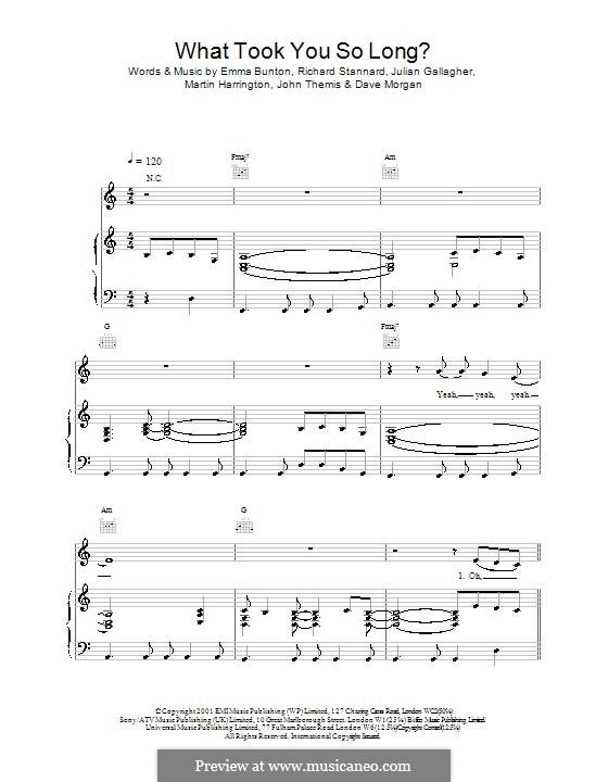 What Took You So Long?: Para vocais e piano (ou Guitarra) by Dave Morgan, Emma Bunton, John Themis, Julian Gallagher, Martin Harrington, Richard Stannard