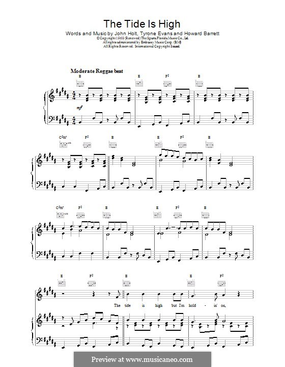 The Tide is High (Blondie): Para vocais e piano (ou Guitarra) by Howard Barrett, John Holt, Tyrone Evans