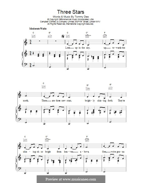 Three Stars (Eddie Cochran): Para vocais e piano (ou Guitarra) by Tommy Dee