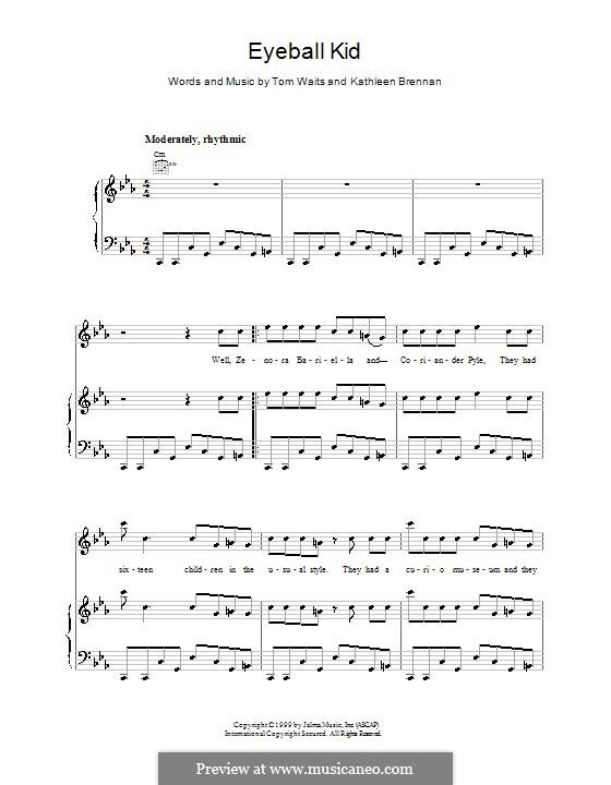 Eyeball Kid: Para vocais e piano (ou Guitarra) by Kathleen Brennan