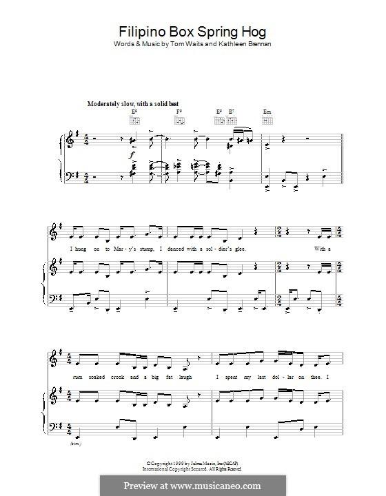 Filipino Box Spring Hog: Para vocais e piano (ou Guitarra) by Kathleen Brennan