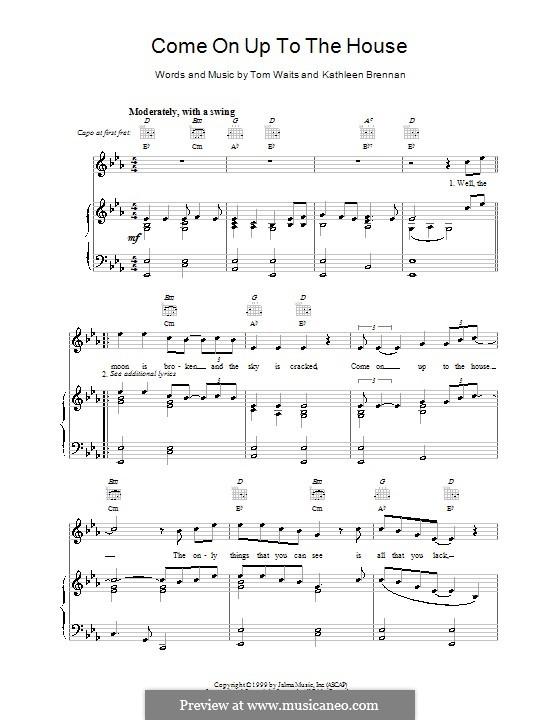 Come on up to the House: Para vocais e piano (ou Guitarra) by Kathleen Brennan, Tom Waits