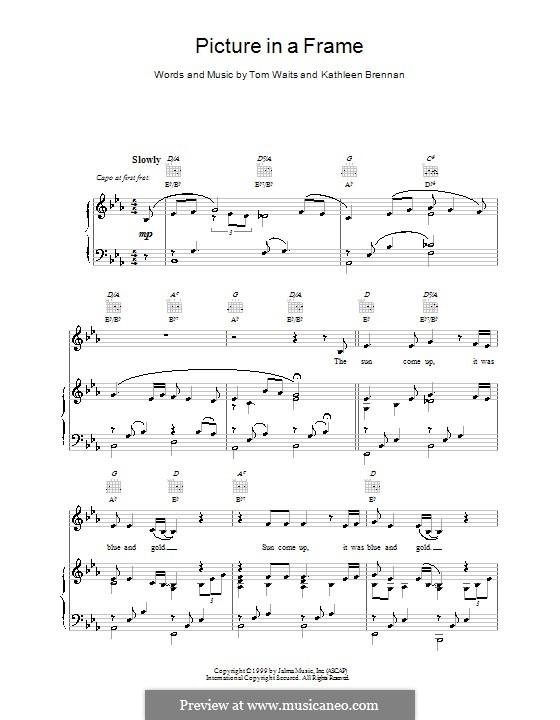Picture in a Frame: Para vocais e piano (ou Guitarra) by Kathleen Brennan, Tom Waits
