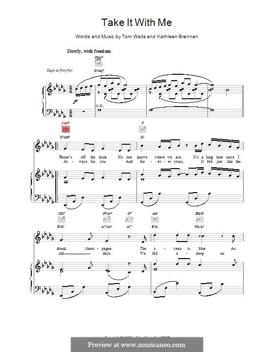 Take It with Me: Para vocais e piano (ou Guitarra) by Kathleen Brennan, Tom Waits