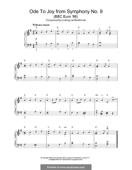 Ode to Joy, for Piano: Com coros by Ludwig van Beethoven