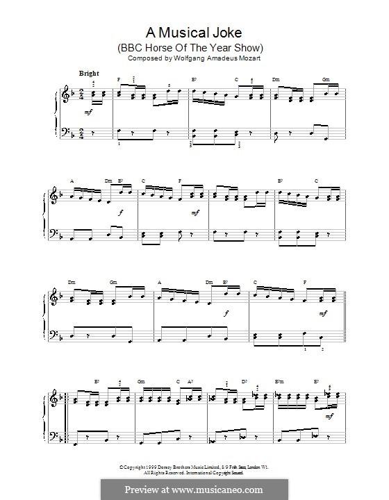 A Musical Joke, K.522: presto, para piano by Wolfgang Amadeus Mozart