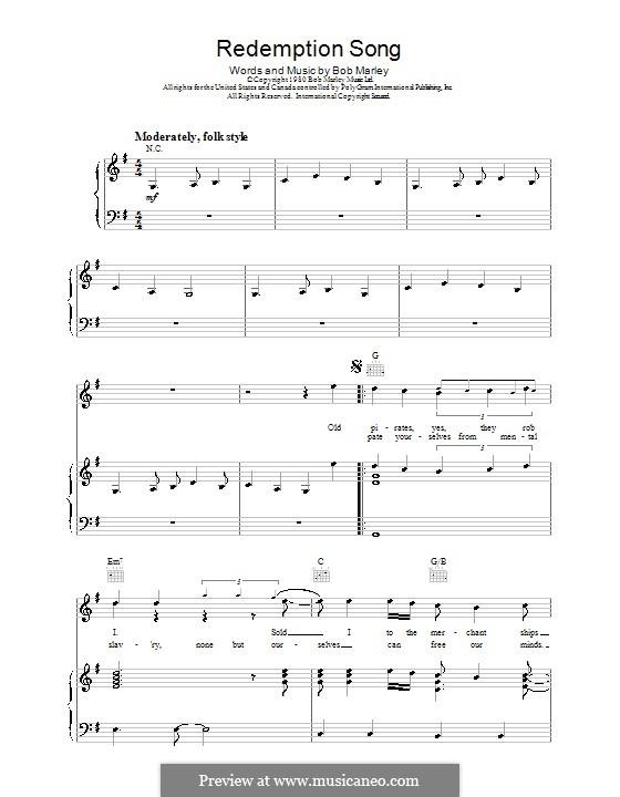 Redemption Song: Para vocais e piano (ou Guitarra) by Bob Marley