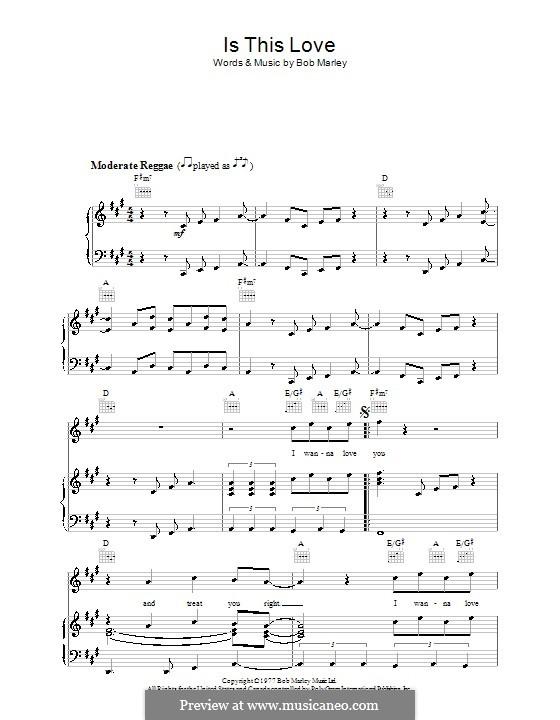 Is This Love: Para vocais e piano (ou Guitarra) by Bob Marley