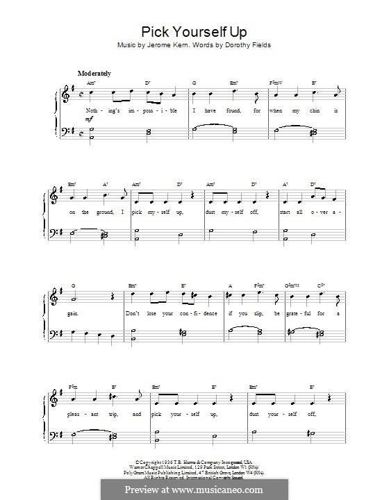 Pick Yourself Up: Facil para o piano by Jerome Kern