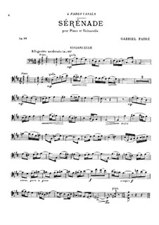 Serenade for Cello and Piano, Op.98: partitura, parte solo by Gabriel Fauré