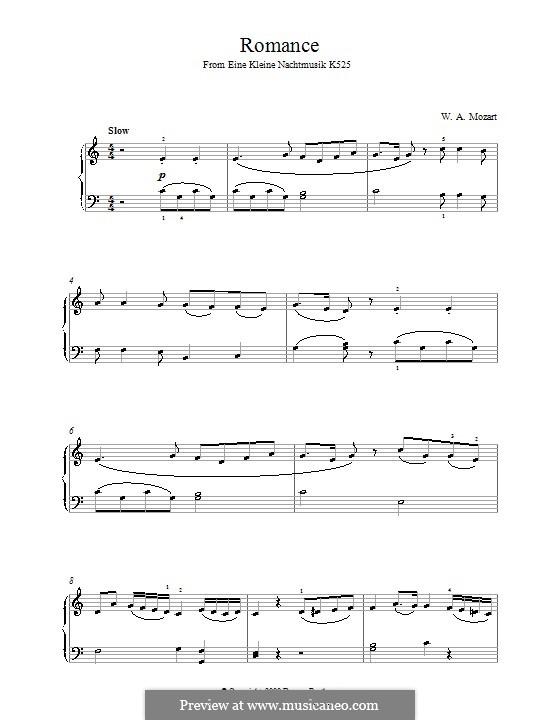 Romance: Para Piano by Wolfgang Amadeus Mozart