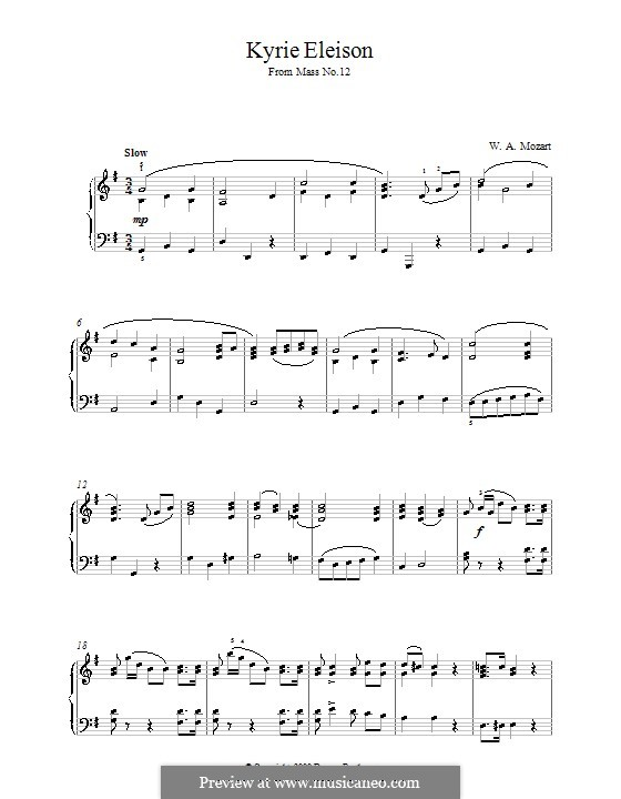 Mass in G Major: Kyrie Eleison, for piano by Wolfgang Amadeus Mozart