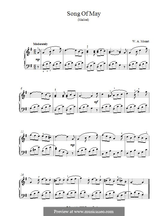 Songs for Voice and Piano: No.2 Song of May. Version for piano by Wolfgang Amadeus Mozart