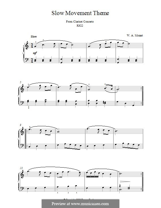 Concerto for Clarinet and Orchestra in A Major, K.622: Adagio (Theme). Version for piano by Wolfgang Amadeus Mozart