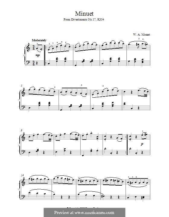 Divertissement No.17 in D Major, K.334: minueto, para piano by Wolfgang Amadeus Mozart
