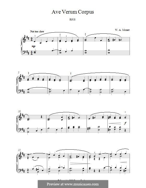 Ave verum corpus (Printabel Scores), K.618: para piano (partituras de alta qualidade) by Wolfgang Amadeus Mozart