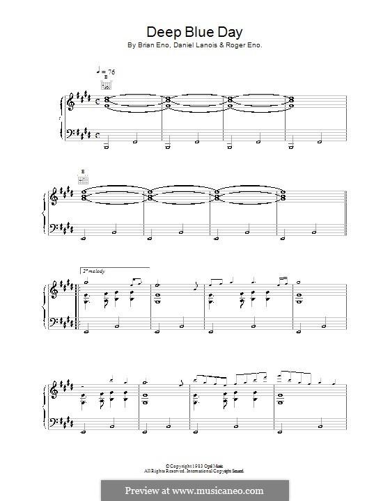 Deep Blue Day: Para vocais e piano (ou Guitarra) by Brian Eno, Daniel Lanois, Roger Eno