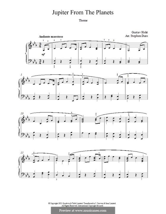 Jupiter: Theme. Version for piano by Gustav Holst