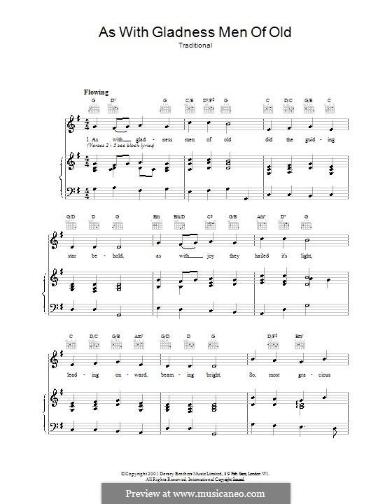 As with Gladness Men of Old: Para vocais e piano (ou Guitarra) by Conrad Kocher
