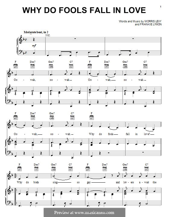 Why Do Fools Fall in Love: Para vocais e piano (ou Guitarra) by Frankie Lymon, Morris Levy