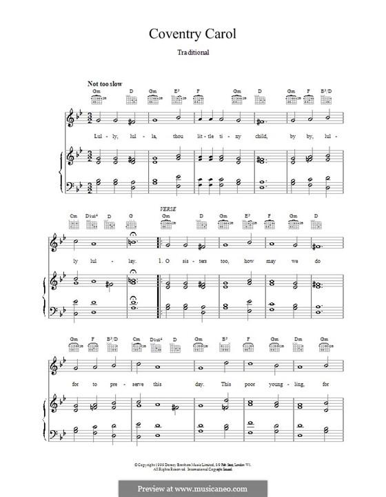 Coventry Carol: Para vocais e piano (ou Guitarra) by folklore