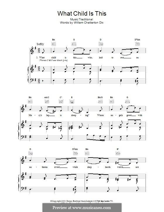 What Child is This (Christmas Carol): Para vocais e piano (ou Guitarra) by folklore