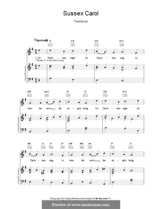 Sussex Carol: Para vocais e piano (ou Guitarra) by folklore