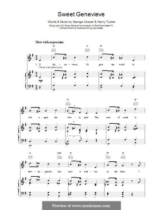 Sweet Genevieve: Para vocais e piano (ou Guitarra) by George Cooper