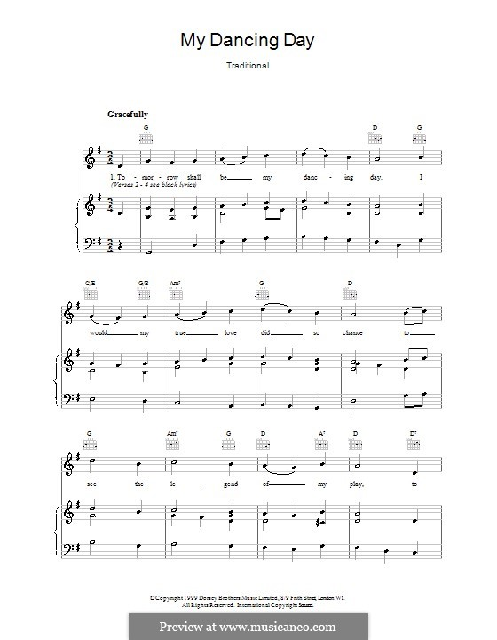My Dancing Day: Para vocais e piano (ou Guitarra) by folklore