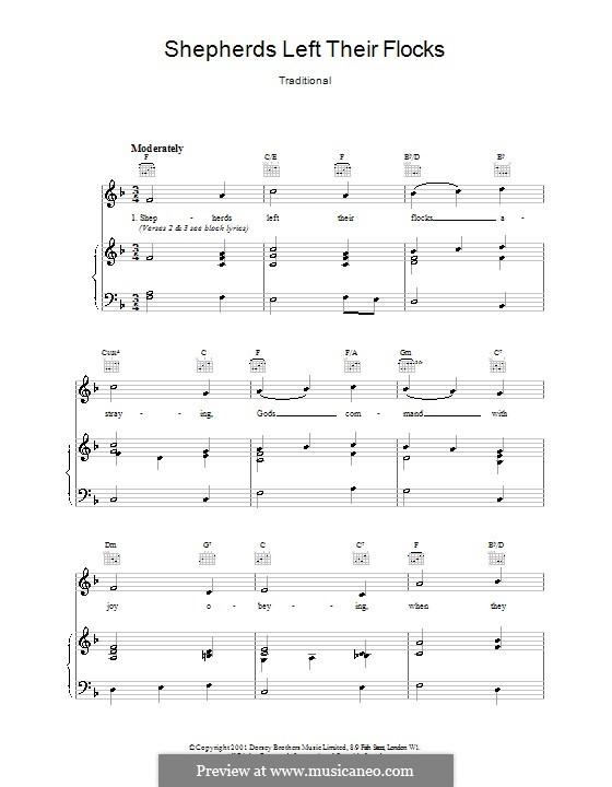 Shepherds Left Their Flocks: Para vocais e piano (ou Guitarra) by folklore