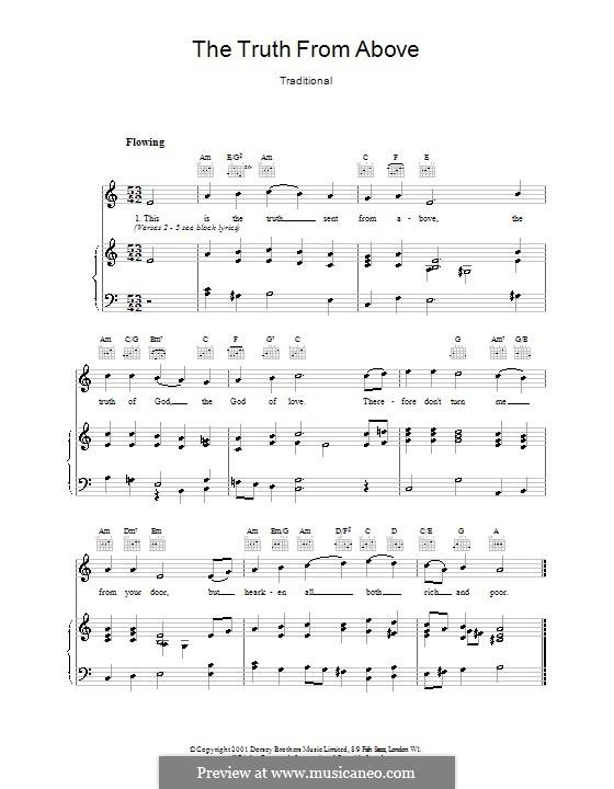 The Truth from Above: Para vocais e piano (ou Guitarra) by folklore