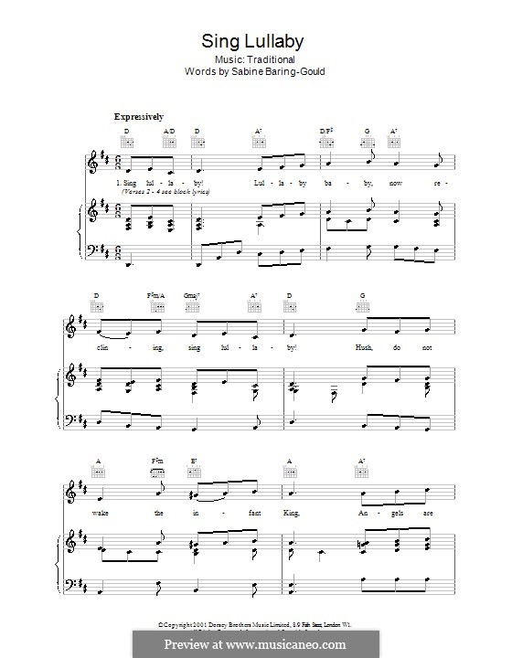 Sing Lullaby: Para vocais e piano (ou Guitarra) by folklore