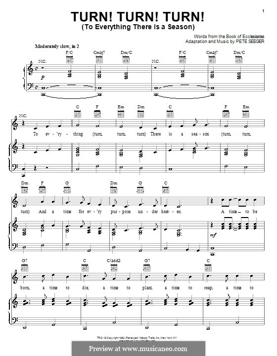 Turn! Turn! Turn! (To Everything There Is a Season): Para vocais e piano (ou Guitarra) by Peter Seeger
