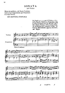 Sonata for Violin and Basso Continuo: Sonata para violino e basso continuo by Giovanni Battista Fontana