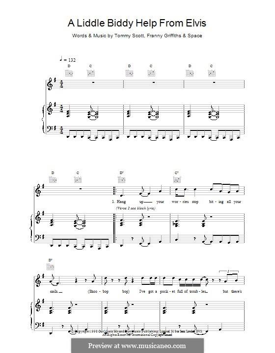 A Liddle Biddy Help from Elvis (Space): Para vocais e piano (ou Guitarra) by Francis Griffiths, Thomas Scott