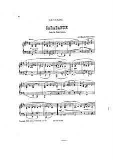 Sarabande and Courant, C.359: versão para piano by Johann Sebastian Bach