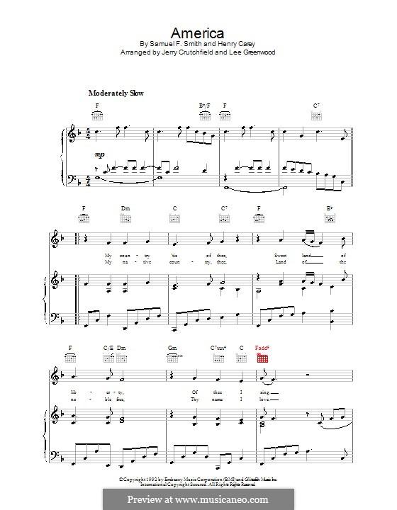 America: Para vocais e piano (ou Guitarra) by Henry Carey