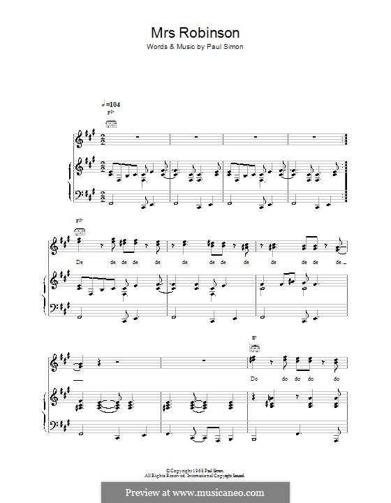 Mrs. Robinson (Simon & Garfunkel): Para vocais e piano (ou Guitarra) by Paul Simon