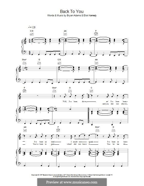 Back to You: Para vocais e piano (ou Guitarra) by Bryan Adams, Eliot Kennedy