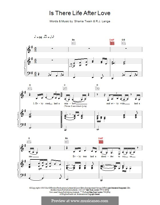 Is There Life After Love: Para vocais e piano (ou Guitarra) by Robert John Lange