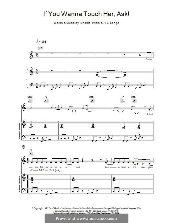 If You Wanna Touch Her, Ask!: Para vocais e piano (ou Guitarra) by Robert John Lange, Shania Twain