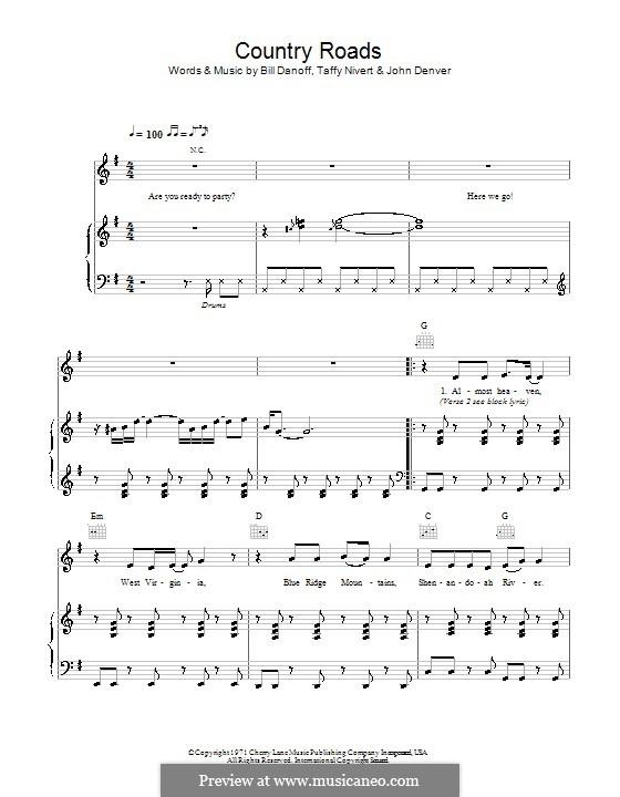 Take Me Home, Country Roads: Para vocais e piano (ou Guitarra) by Bill Danoff, John Denver, Taffy Nivert
