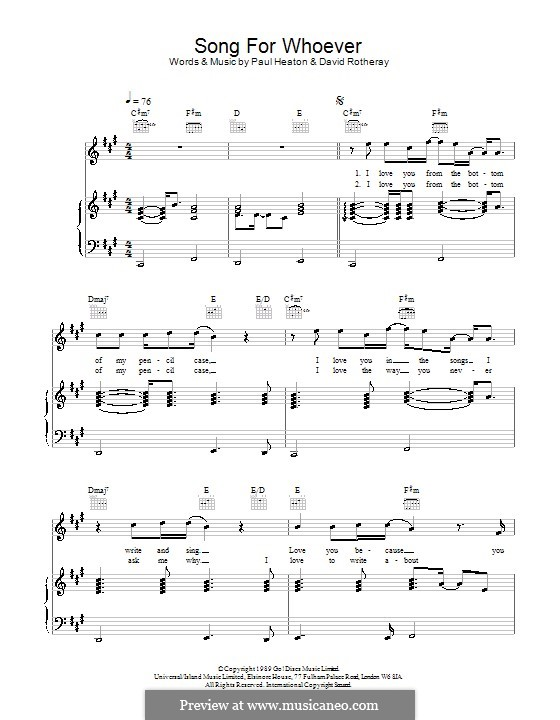 Song for Whoever (The Beautiful South): Para vocais e piano (ou Guitarra) by David Rotheray, Paul Heaton