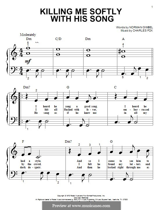 Killing Me Softly with His Song: For piano (The Fugees) by Charles Fox