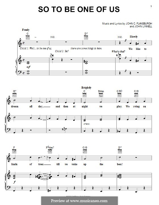 So To Be One of Us (from Peter Pan: Return to Neverland): Para vocais e piano (ou Guitarra) by John Sidney Linnell