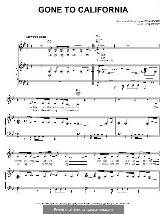 Gone to California (Pink): Para vocais e piano (ou Guitarra) by Alecia Moore, Linda Perry